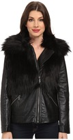 Vince Camuto TWO by Oversized Pleather Coat with Faux Fox Fur