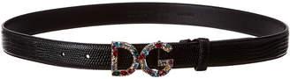 Dolce & Gabbana Logo Buckle Iguana-Embossed Leather Belt