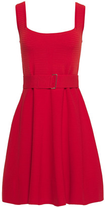 Nicholas Belted Stretch-knit Mini Dress
