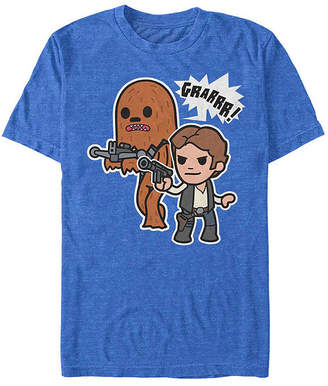 """Fifth Sun Cartoon Chewie And Han Solo """" Mens Crew Neck Short Sleeve Star Wars Graphic T-Shirt"""