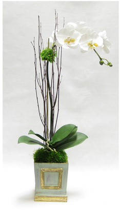 Bougainvillea Artificial Orchid In Small Wooden Square Container