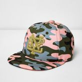 River Island Mini girls pink camo NYC cap