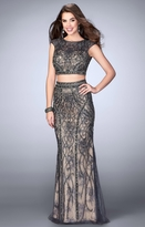 La Femme Gigi GiGi - Beaded Two Piece Open Back Long Prom Dress 24386