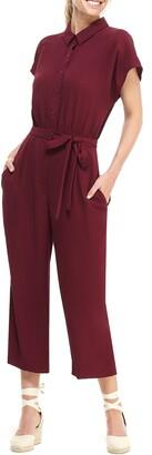 Gal Meets Glam Raina Button Front Crepe Jumpsuit