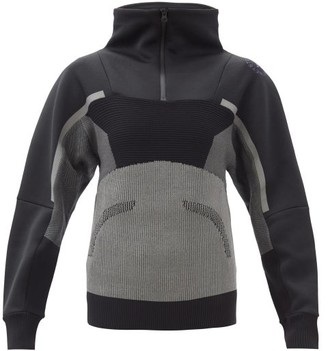 adidas by Stella McCartney High-neck Knitted-panel Neoprene Track Jacket - Black Grey