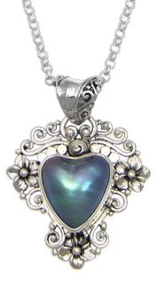 Novica Silver 'Blue Heart in Bloom' 13mm Pearl Necklace