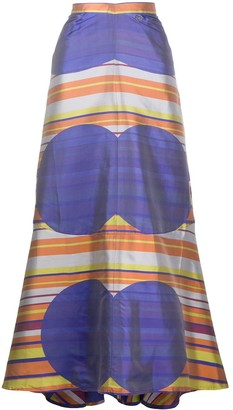 Chanel Pre Owned Striped Dot Print Maxi Skirt
