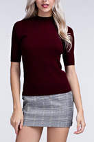 Honey Punch Ribbed Mock Neck Top