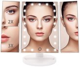 Rumfo Vanity Makeup Mirror Trifold [ 21 LED Lights ] [ Touch Screen ] [ 1x 2x 3x Magnification Mirror ] [ 180° Adjustable Stand ] [ Battery & USB Charging ] for Tabletop Countertop Bathroom