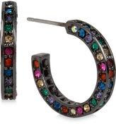 Betsey Johnson Hematite-Tone Multi-Crystal Hoop Earrings