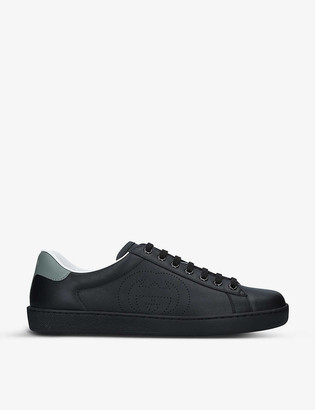 Gucci New Ace perforated leather mid-top trainers