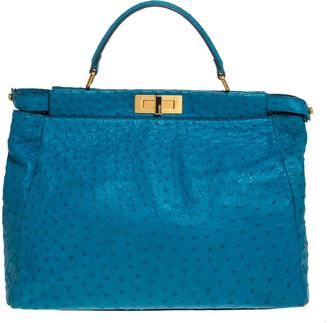 Fendi Aqua Blue Ostrich Large Peekaboo Top Handle Bag