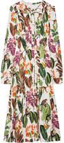 Oscar de la Renta Pussy-bow Printed Stretch Silk-blend Midi Dress
