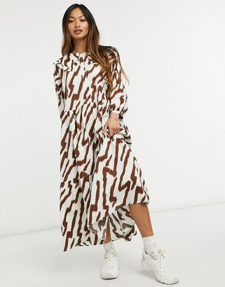 Glamorous maxi smock dress with tiered skirt and bib collar in tonal tiger print