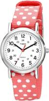 Timex Women's TW2P656009J Weekender Silver-Tone Watch with Reversible Pink Nylon Band