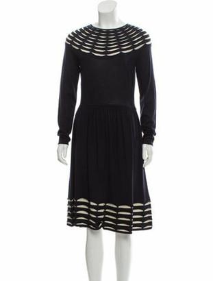 Temperley London Long Sleeve Midi Dress Navy