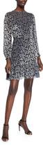 Shoshanna Lenette Valley Floral Burnout Velvet Long-Sleeve Ruffle-Hem Dress