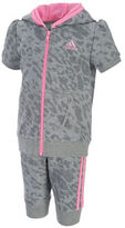 adidas Baby Girls Two-Piece Cheetah Hoodie and Capri Jogger Set