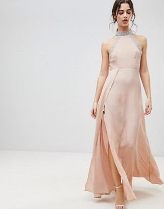 Asos Design ASOS Embellished Trim Backless Maxi dress