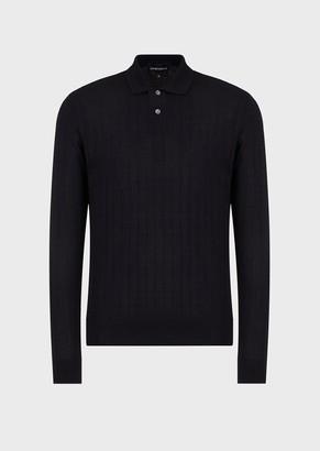 Emporio Armani Virgin-Wool Plaid Sweater With Polo-Shirt Collar