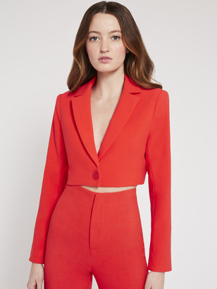 Alice + Olivia Macey Crop Notch Collar Blazer