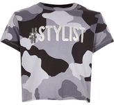 River Island Girls grey camo sequin crop top