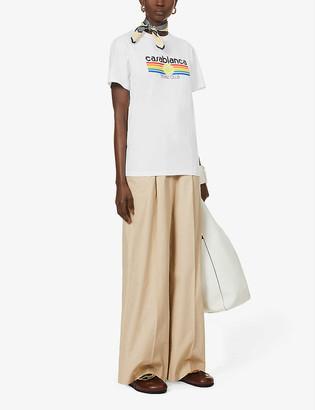 Casablanca Tennis Club slogan-print organic cotton-jersey T-shirt