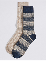 M&s Collection 2 Pairs of Wool Blend Fairisle Socks