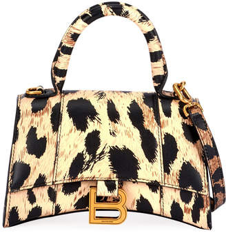 Balenciaga Hour XS Leopard-Print Leather Top-Handle Bag