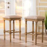 Christopher Knight Home Osvald Studded Fabric Bar Stool (Set of 2)