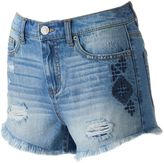Mudd Juniors' Embroidered Ripped Shortie Shorts