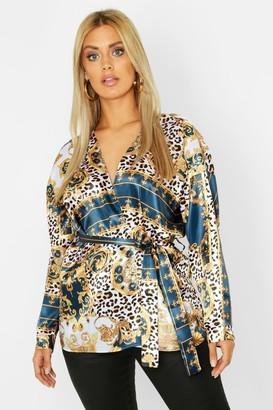 boohoo Plus Woven Chain Leopard Print Blouse