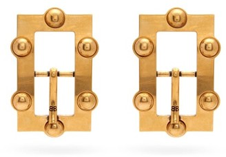 Balenciaga Large Bb-logo Buckle Earrings - Gold