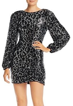 Saylor Sequined Leopard Long Sleeve Mini Dress