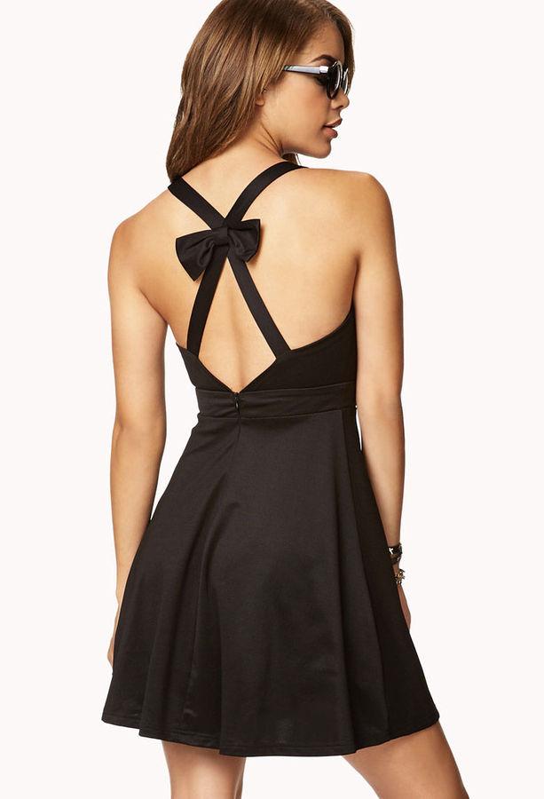 Forever 21 Crisscross Back Bow Dress
