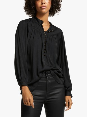 AND/OR Elodie Spot Blouse, Black