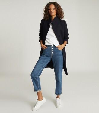 Reiss Marcie - Wool Blend Mid Length Coat in Navy