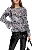 Topshop Floral & Lace Bell Sleeve Top