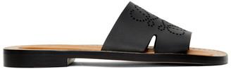Loewe Black Leather Anagram Mules