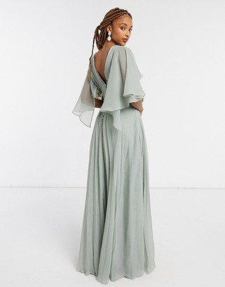 ASOS DESIGN Bridesmaid ruched bodice drape maxi dress with wrap waist and flutter cape sleeve