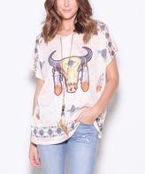 Paparazzi Tan Geo-Print Bull Short-Sleeve Top