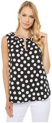 Elliott Lauren Dots Sleeveless Blouse (Black/White) Women's Clothing