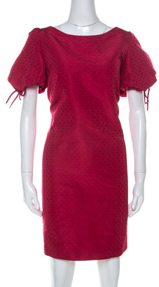 RED Valentino Raspberry Red Tonal Jacquard Puff Sleeve Dress L