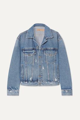 GRLFRND Kim Distressed Denim Jacket - Mid denim