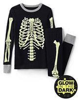 Lands' End Toddler Boys Skeleton Knit Snug Fit PJ Set-Black