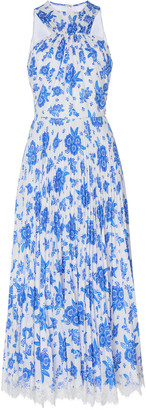 Andrew Gn Printed Pleated Silk Halter Dress