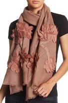 Saachi Floral Applique Wool Wrap
