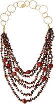Devon Leigh Long Layered Multi-Strand Stone Necklace, Red/Black/Multi