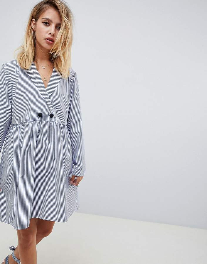 Asos Design DESIGN cotton smock mini dress with long sleeves in shirting stripe