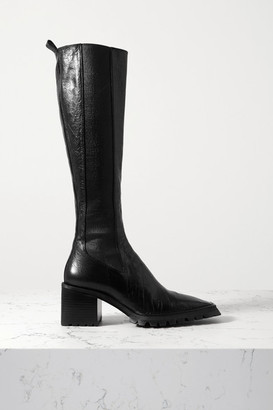 Alexander Wang Parker Lug Glossed Textured-leather Knee Boots - Black